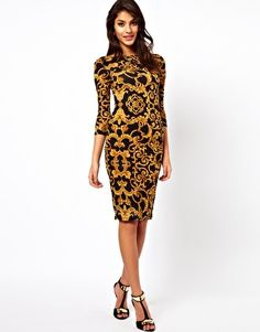 ASOS Midi Bodycon Dress In Baroque Print