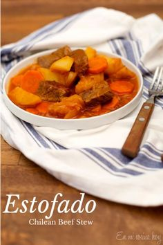 Estofado -Chilean Beef Stew , receta chilena (Chilean recipe) Read More by thetiesprogram Chilean Recipes, Chilean Food, Beef Recipes, Cooking Recipes, Slow Cooking, Latin American Food, Peruvian Recipes, Comida Latina, English Food