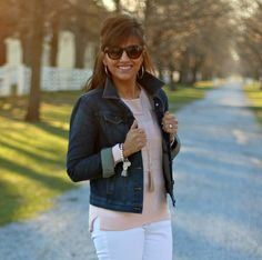 Welcome to 27 Days of Spring Fashion! Today I'm styling a lightweight pink sweater with my white jeans. The weather has been beautiful the last few days so I'm enjoying being outside every chance I ge
