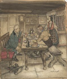 The Farmer's Supper by Hans Christian Anderson. Arthur Rackham illustration, 1932.