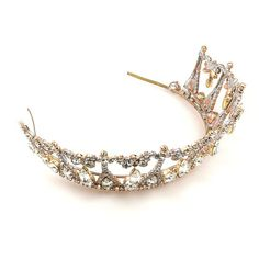 """Unique clear crystal crown tiara, adjustable size and height of center parts 2.50"""", dangling pending navette shape pices  . Price: $59.90"""