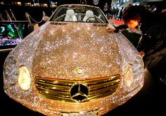 Luxury Cars - haha wow - Prince Al-Waleed of Saudi Arabia commissioned a Mercedes covered in diamond Swarovski crystals for 48 million dollars. Maserati, Sexy Cars, Hot Cars, My Dream Car, Dream Cars, Mercedes Benz, Gold Mercedes, Mercedes Concept, Car Cost
