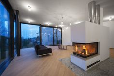 Architect Šebo Lichy has designed the House Between The Trees, a home in Slovakia that was inspired by the Tugendhat Villa. The architect's description The Freestanding Fireplace, Wood Fireplace, Living Room With Fireplace, Fireplace Design, Fireplace Ideas, Canapé Design, House Design, Design Ideas, Double Sided Fireplace
