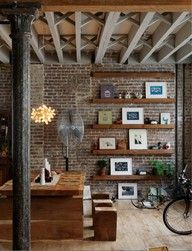 like the wood beam shelves