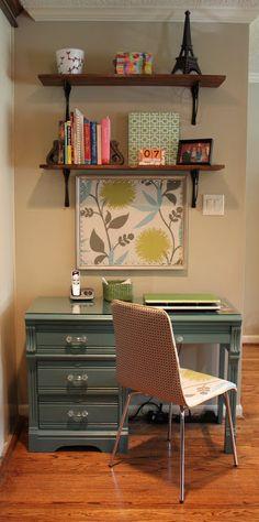 home office- fun pin board, open shelving above desks?