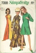 An original ca. 1967 Simplicity Pattern 7359.  The pantdress with gathers at front neck edge has bias roll collar, raglan type armholes and back zipper. V1 and 2 are ankle length. V1 and 3 have long sleeves gathered to sleeve bands. Sleeveless V2 has contrasting left front and left back. V3 is regular length.