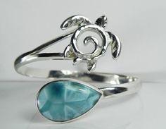 Larimar Bracelet - Gemstone Sea Turtle Jewelry - Aqua Teal Blue Cuff Bracelet - Larimar Sterling Silver - Unique Sea Turtle Jewelry - OOAK