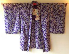 Vintage Japanese Kimono Haori Jacket Meisen Silk purple leaf