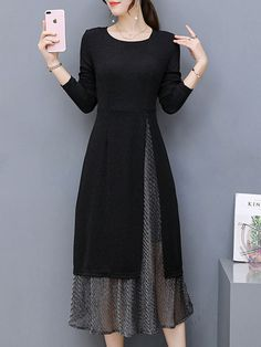Elegant dress black cotton blend long sleeve two piece crew neck natural elegant going out daily solid 修身 mid weight slightly stretchy spring sweet mid calf Simple Dresses, Elegant Dresses, Beautiful Dresses, Casual Dresses, Fashion Dresses, Sexy Dresses, Formal Dresses, Summer Dresses, Midi Dresses