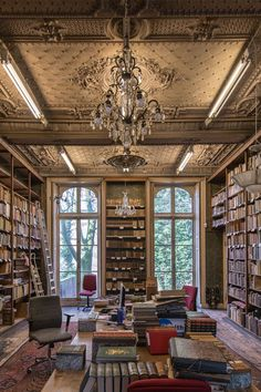 Classical style home library in the house