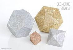 Create glitter 3D geometric shapes for parties and decor. Shape files available for Silhouette cutting machine. www.amyrobison.com