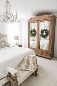 Vintage Decor Ideas French Master Bedroom Christmas Tour/wooden armoire - So Much Better With Age French Master Bedroom, French Country Bedrooms, French Country Decorating, French Decor, Master Suite, Master Bedrooms, French Bedroom Decor, White Bedrooms, Guest Bedroom Decor