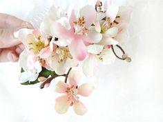 pink cherry blossom hair accessory, wedding hair comb - CHIEKO - bridal hair comb, pink flower, white flower