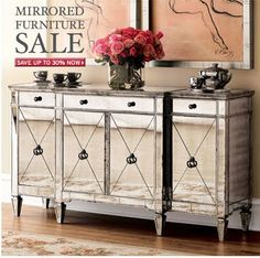 Amelie Mirrored Console Contemporary Buffets And Sideboards Chic Coles