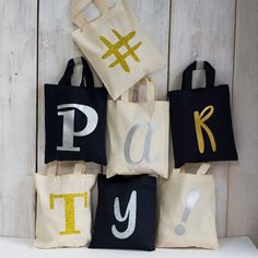 Personalised Mini Initial Tote Bag - Gold - Silver - Party Bags - Party Favours - Hen party - Birthday Party - Birthday Gifts for Her - Tote by SquiffyPrint on Etsy