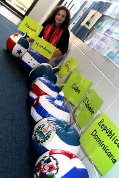 In the fall instead of carving pumpkins, paint them with flags from Spanish speaking countries.