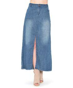 Look what I found on #zulily! Denim Front-Slit Midi Skirt - Plus #zulilyfinds