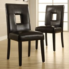 Keyhole backs give the Weston Home Landen Faux Leather Chair - Set of 2 a touch of modern appeal that is perfect for transitional dining areas. Dining Chair Set, Dining Room Chairs, Side Chairs, Wood Chairs, Dining Tables, Outdoor Dining, Faux Leather Dining Chairs, Contemporary Dining Chairs, Modern Chairs