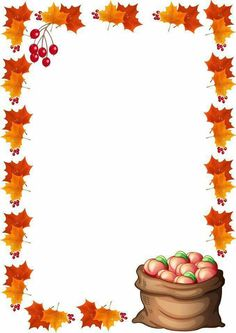 Fall Crafts, Diy And Crafts, Crafts For Kids, Paper Crafts, Borders For Paper, Borders And Frames, Stationary Printable, Boarder Designs, Fruit Creations