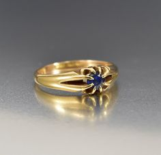Antique Edwardian Gold Band Sapphire Engagement Ring