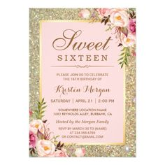 Pink Birthday Invitations Sweet 16 Birthday | Pink Floral Gold Glitters Card