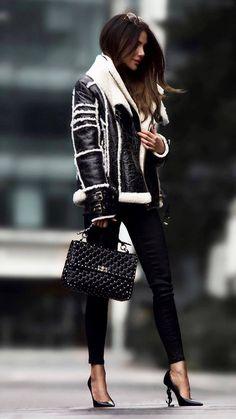 Looks com jaqueta Shearling - Glanz Fashion Mode, Look Fashion, Trendy Fashion, Fashion Trends, Fashion Ideas, Fashion Fashion, Curvy Fashion, Fashion Clothes, Fashion Boots