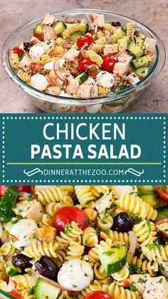 Italian Chicken Salad Recipe, Chicken Pasta Salad Recipes, Healthy Chicken Pasta, Best Salad Recipes, Pasta Salad Italian, Yummy Pasta Recipes, Amazing Recipes, Dinner Recipes, Homemade Pasta Salad