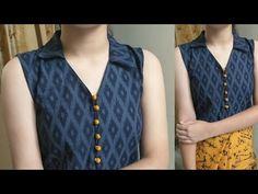 Easy V Collar Neck (Spread Collar) with Placket for Kurti/Bilouse/CropTop Chudi Neck Designs, Neck Designs For Suits, Sleeves Designs For Dresses, Neckline Designs, Dress Neck Designs, Blouse Designs, Simple Kurti Designs, New Kurti Designs, Kurti Designs Party Wear