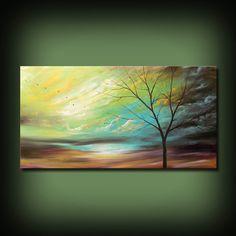 muur kunst schilderij boom waait de wind abstract door mattsart