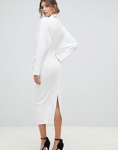36722a7c4dc4 ASOS DESIGN - Vestito camicia midi a portafoglio con maniche lunghe
