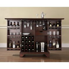 Crosley Alexandria Expandable Bar Cabinet is constructed of solid hardwood and wood veneers. This expandable bar cabinet is designed for longevity. Home Bar Cabinet, Liquor Cabinet, Bar Cabinets For Home, Drinks Cabinet, Cabinet Ideas, Wine Cabinets, Storage Cabinets, Storage Shelves, Curio Cabinets