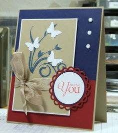 "airbornewife's stamping spot: SC345 ""For You"" butterfly card .. red, white, blue and kraft"