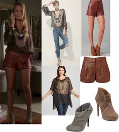On Serena: Leyendecker Turnout Blouse with Sequin Embellishment, Tibi High Waisted Leather Shorts, Elie Tahari Bria Booties