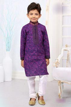 Click On Bazaar Purple Color Cotton Boys Kurata Pajama - ClickOnBazar
