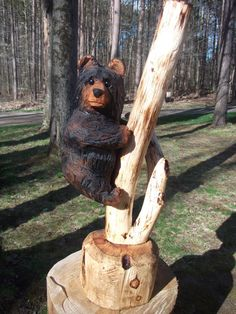 Chainsaw Carved Bear on Branch by carvnstitch on Etsy, $200.00