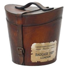 Leather hatbox with an antique-style label - such a neat item to have!