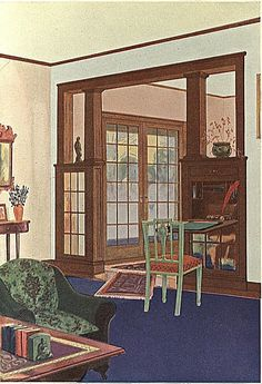 Combination bookcase and writing desk colonnade, French doors, 1920's vintage home interior.