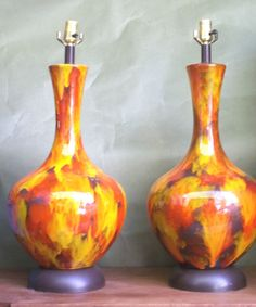 """MONUMENTAL PAIR BRILLIANT RED+YELLOW GLAZED CERAMIC GOURD LAMPS- MID CENTURY (28""""H a 13""""Dia) - asking $375 or best offer 1/15/2015"""