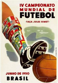 Details about fifa world cup 1950 brasil brazil soccer official event poster reprint edition 1950 World Cup, World Cup 2014, Soccer Art, Soccer Poster, Soccer Tips, Nike Soccer, Soccer Cleats, Football Soccer, First World Cup