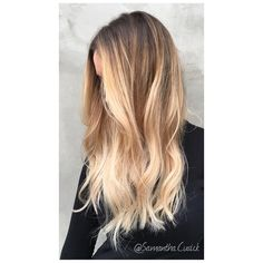 """""""• B A L A Y A G E • An alternative view of my previous post! Creamy blonde balayage ombré by me @samantha.cusick with a little help from @olaplexuk to…"""""""