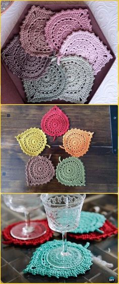 Crochet Diy Crochet Lace Leaf Coasters Free Pattern - Crochet Coasters Free Patterns - Crochet Coasters Free Patterns and Instructions: Collection of easy crochet coasters, flower coaster, animal coaster, coaster applique / motif design Mode Crochet, Crochet Diy, Easy Crochet Patterns, Thread Crochet, Crochet Gifts, Crochet Coaster Pattern Free, Crochet Ideas, Crochet Accessories Free Pattern, Crochet Lace Scarf