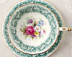 Paragon Tea Cup and Saucer with Green Rose Border and Floral Center, Vintage Tea Cup, Bone China
