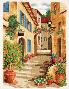 PAISAJES EN PUNTO DE CRUZ Cross Stitch Designs, Cross Stitch Patterns, Cross Stitching, Cross Stitch Embroidery, Craft Museum, Cross Stitch House, Cross Stitch Collection, Embroidery Flowers Pattern, Art N Craft