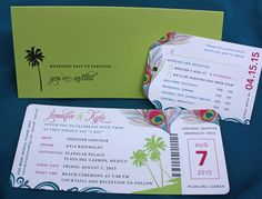 Lime Green, Teal & Pink Peacock Feathers, Palm Trees & Swirls Airline Ticket Wedding Invitations
