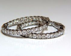2.22ct Natural round brilliant in/out diamond hoop earrings 14kt g/vs 1.07 inch