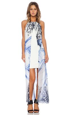 Lumier Smoke and Mirrors Open Front Maxi Dress in Blue Print