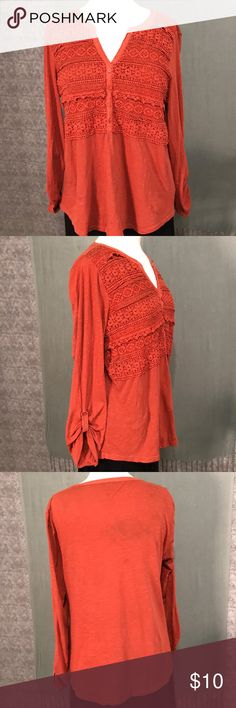 Boho 100% Cotton Top M Casual cotton top in burnt orange features Indian crochet stylings at the yolk.  Sleeves have option to be rouched or worn all the way down.  Pairs beautifully with jeans or cotton skirt. Style & Co Tops Blouses
