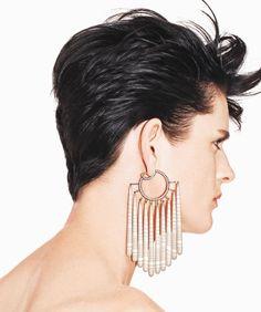 JAR - The Jewels Money Can't Buy. US Harper's BAZAAR -Sept 2013 Striped chalcedony and diamond fringe earrings by JAR Paris. Photo by Kacper Kasprzyk for US Bazaar
