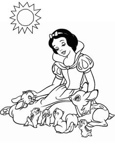 Snow White and the Seven Dwarfs coloring pages. Disney coloring pages. Coloring pages for kids. Thousands of free printable coloring pages for kids! Princess Coloring Sheets, Disney Princess Coloring Pages, Disney Princess Colors, Disney Princess Snow White, Disney Colors, Princess Cartoon, Cartoon Coloring Pages, Animal Coloring Pages, Coloring Pages To Print