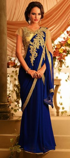Traditional art gets an ornamental revival in this royal blue number. The gold work really stands out